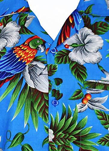 Bleu Chemise Poche Manche avant Hawaïenne imprimer Perroquet Hawaiian Hommes Xs Kameha Funky 12xl courte King Variées Couleurs Cerise SzpwTxEqc