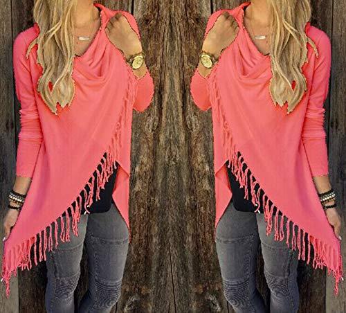 Maglione Moda con Donna Sweater Bluse Frange Jumper Cime Manica Lungo Pullover e Maglie Casual Autunno a Lunga Tops Inverno SFIFwp