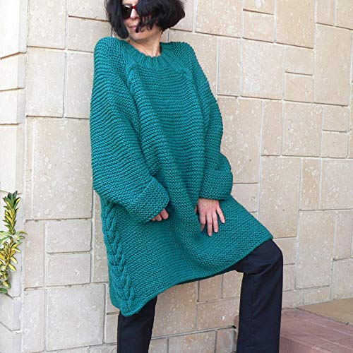 d2f172b0915 Amazon.com: Sweater bulky slouchy over sized cable hand knit ...