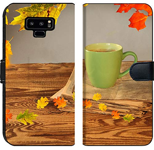 Liili Premium Samsung Galaxy Note9 Flip Micro Fabric Wallet Case Cup of Tea with Autumn Leaves Reflection on Newspaper Wood Image ID 22759699