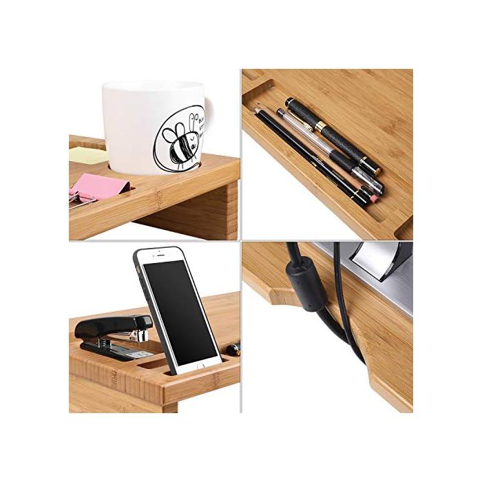 51oM9ynXvqL Material de bambú natural - Está fabricado de bambú natural, es sólido y duradero, fácil de limpiar. Gracias al material de bambú, dispone de la prolongada vida útil del producto, la buena estabilidad y calidad. La altura es 8.5 cm, es perfecto para los ojos para ver la pantalla Almacenamiento perfecto - En la bandeja hay 7 diferentes compartimientos para guardar las pequeñas cosas como teléfono, taza, grapadora, bolígrafos, etc.