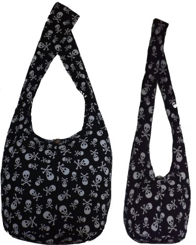 Black Skull Combo Jumbo & Sling Cross Body Shoulder Bags Hippie Hobo Thai Cotton Bohemian Tote Beach Bag Gym Bag Craft Bag Satchel Grocery Fishing Lunch Oversized Weekender Carry-on Bags and Purses by Audrey Slavich