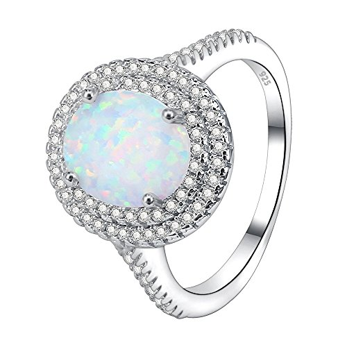 AoedeJ Fire Opal Rings 925 Sterling Silver Micro Pave CZ Halo Rings Women Eternity Wedding Band Rings (8) -