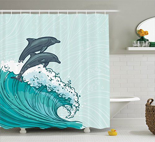 Ambesonne Dolphin Shower Curtain Set Sea Animals Decor, Two Surfing Dolphins in Waves Water Sketch Sea Ocean Summertime Print, Bathroom Accessories, 75 inches Long, Aqua Blue Grey