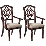 Ashley Furniture Signature Design - Leahlyn Dining Room Chair with Arms - Old World Traditional Design - Set of 2 - Reddish Brown