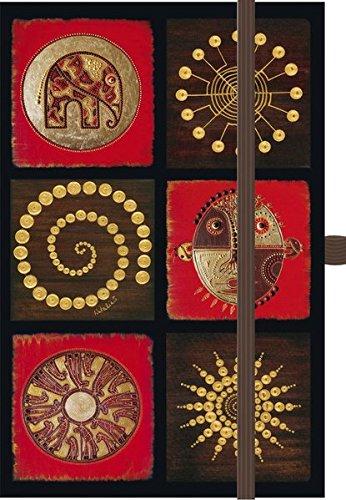 Premium Timer Small 34;African Art - Mosaik rot34; 2016: Buchkalender mit hochwertiger Folienveredelung und Prägung