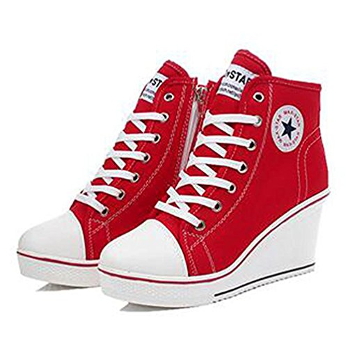 Keilabsatz Rot Canvas Laufschuhe ohne Damen Sneaker Markenname Up Sportlich Hohe Lace Mädchen nFxgFP0
