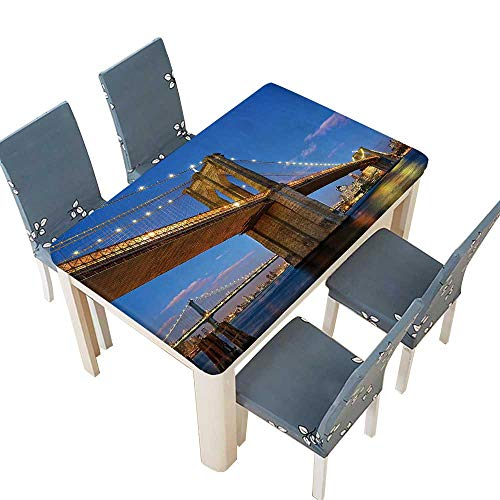 PINAFORE Indoor/Outdoor Polyester Tablecloth Collection Brooklyn Bridge at Twilight in New York City East River Modern Metropolis Wedding Restaurant Party Decoration W73 x L112 INCH (Elastic -