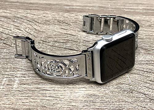Shiny Silver Bracelet For Apple Watch Band Women 42mm 44mm Flowers Design Bangle iWatch Band Bangle Adjustable Size iWatch Feminine Jewelry Bracelet Elegant Apple Watch ()