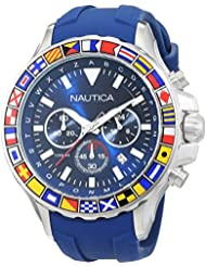 Nautica Mens NST 1000 FLAGS Quartz Stainless Steel and Silicone Casual Watch, Color:Blue (Model: NAD19562G)