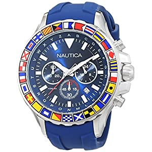 Nautica Men's NST 1000 Flags Stainless Steel Quartz Watch with Silicone Strap, Blue, 22 (Model: NAD19562G)