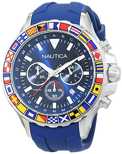 Nautica Men's NST 1000 Flags Stainless Steel Quartz Watch with Silicone Strap, Blue, 22 (Model: - Steel Stainless Watch Graduate