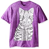 The Mountain Men's Colorwear Miaow Cat Adult Coloring T-Shirt, Purple, 2XL