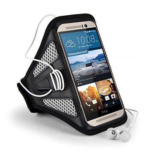 SumacLife Mesh Workout Sports Jogging Running GYM Armband Case for HTC One M9 / M8 /Desire EYE / HTC / BLU Vivo Air Smartphone (Black/Gray)