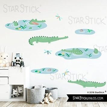 StarStick - Wandtattoos für babyzimmer Krokodile baby - Vinyl-kinder-baby - T3 - Groß