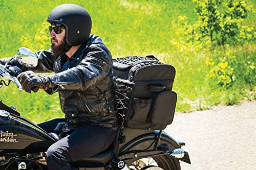 Bag Travel Bar Sissy - Kuryakyn 5285 Momentum Vagabond Motorcycle Travel Luggage: Weather Resistant Seat/Trunk/Rack Bag with Sissy Bar Straps, Black