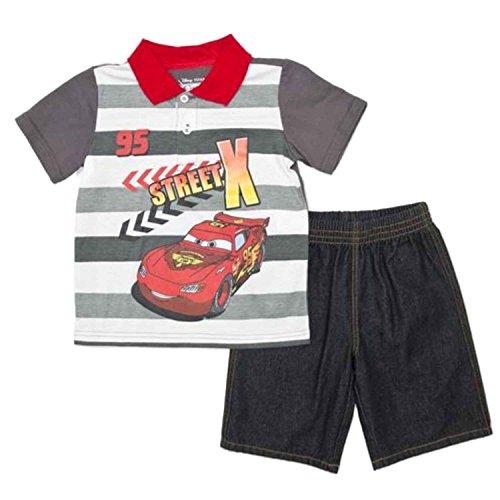 Lightning Mcqueen Short - Disney Cars Infant & Toddler Boys 2P Lightning McQueen Polo T-Shirt & Shorts 2T