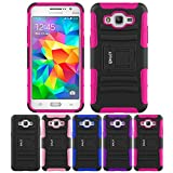 Galaxy Grand Prime Case, HLCT Rugged Shock Proof Dual-Layer PC and Soft Silicone Case With Built-In Kickstand for Samsung Galaxy Grand Prime (2014) (Rose Pink)