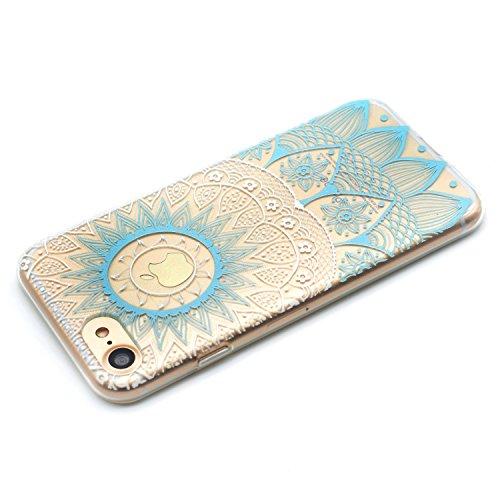 iPhone 6 6S Coque , Leiai Mode Transparent Ultra-mince Clear Fleur Bleue Silicone Doux TPU Housse Gel Etui Case Cover pour Apple iPhone 6 6S