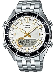 Casio Mens Ana-Digi Quartz Metal and Stainless Steel Casual Watch, Color:Silver-Toned (Model: AMW-720D-7AVCF)