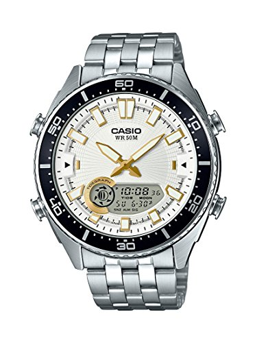 Casio Men's 'Ana-Digi' Quartz Metal and Stainless Steel Casual Watch, Color Silver-Toned (Model: AMW-720D-7AVCF) (Round Watch Metal Silver)