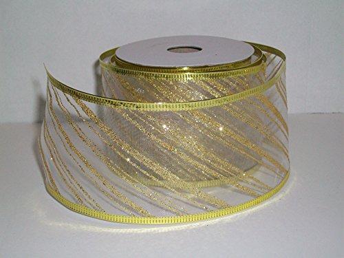 Gift Wrapping, Christmas Ribbon Wired Edge Organza Nylon WHITE/GOLD STRIPE -21/2
