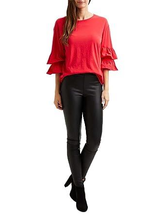 Vila Vifala Ruffle Sleeve Blusa Roja Mujer S: Amazon.es: Ropa y accesorios
