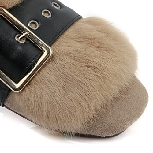 ENMAYER Damen Suede Low Wedge Mandel Toe Boots Wohnungen mit warmen Fell Grau8