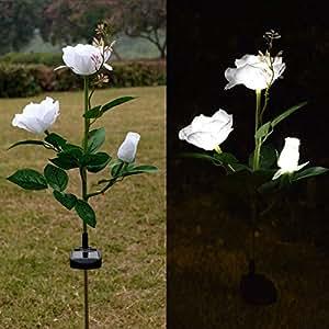 Outdoor Solar Rose LED Stake Lights, Homeleo Solar Powered Rose Flower Lights for Garden Back Yard Patio Decoration - White