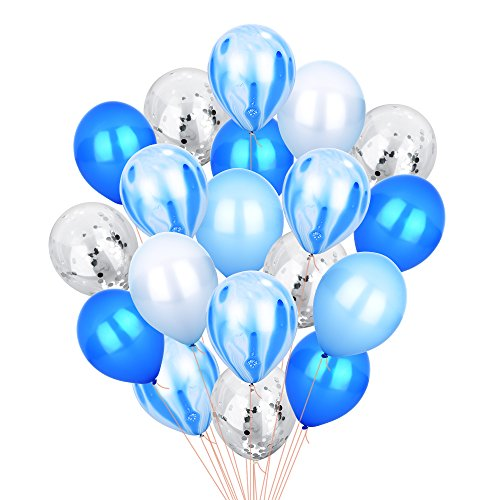 Blue Silver Confetti Balloons Agate Marble Stripe Assorted Colors Party Balloon, 12 Inch Pack of 40, Metallic Latex Balloons for Baby Shower Birthday Wedding NYE Party Decoration Supply, Blue Set]()