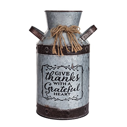 Outdoor Vase (Decorative Galvanized-Metal Can | Garden Decoration | Gardening Gift/Souvenir | Metal Flower Pot/Vase Decor)