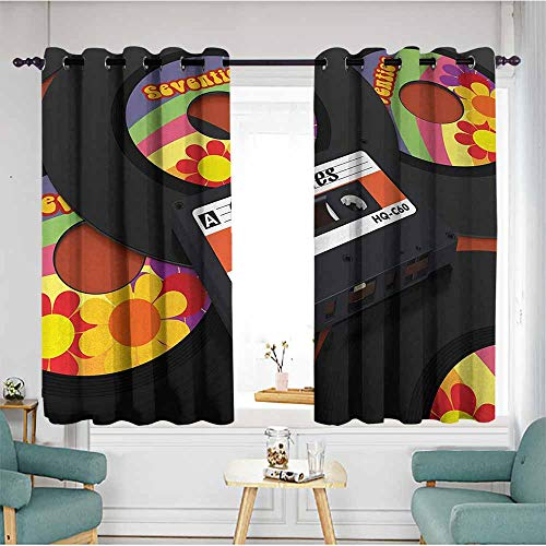 (Beihai1Sun Window Blackout Curtains,70s Party,Compact Cassette Player and Some Vinyl Records with Seventies Text Oldschool,Multicolor,Insulated with Grommet Curtains for Bedroom,W55x39L)