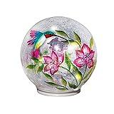 Lighted Crackle Glass Garden Globe Ball Outdoor Yard or Table Decoration, Hummingbird