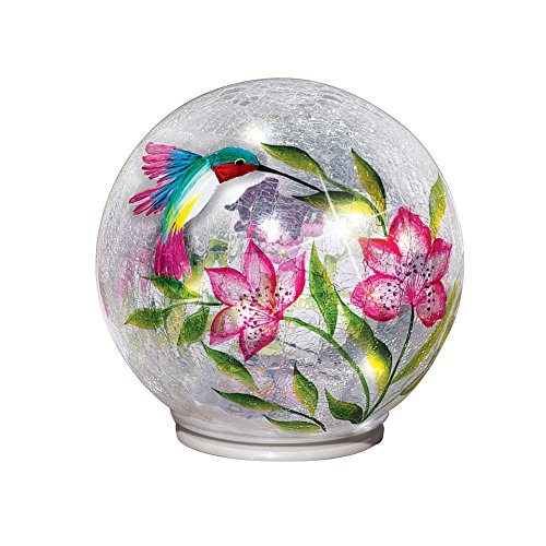 (Collections Etc Lighted Crackle Glass Garden Globe Ball Outdoor Yard or Table Decoration, Hummingbird)