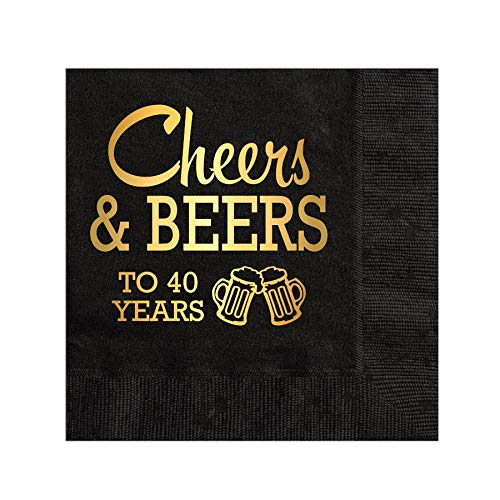 40 Years Cheers and Beers Gold Foil 40th Birthday Party Napkins Set of 25 40th Birthday for Him Beverage Napkins Cocktail Napkins Black and Gold Napkins Cheers and Beers to 40 Years Napkins
