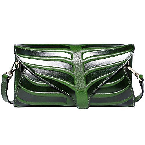PIJUSHI Women Clutch Designer Leaf Purse Leather Crossbody Bags For Women (22290, Green)