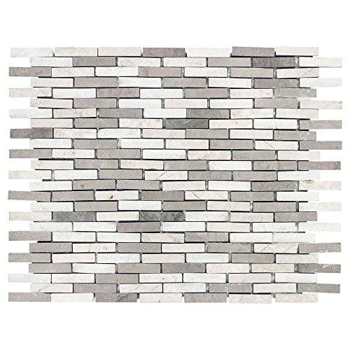 Whispering Cliffs 13 in. x11.5 in. x 10 mm Grey Limestone/White Marble Mosaic Wall Tile ()