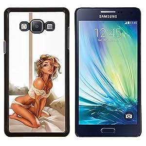Lencería Sexy Babe Hombros Piernas Rubia- Metal de aluminio y de plástico duro Caja del teléfono - Negro - Samsung Galaxy A7 / SM-A700