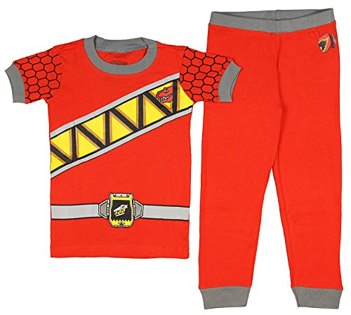 Intimo Kids Mighty Morphin Power Rangers Dino Charge Costume Pajama Set (8, (Power Rangers Samurai Costume Red)