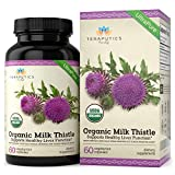 USDA Certified Organic Milk Thistle | Non GMO 2000mg 4X Concentrated Vegan Daily Supplement w/Silymarin Seed Extract for Liver Support, Detox and Cleanse - 60 Veggie Capsules