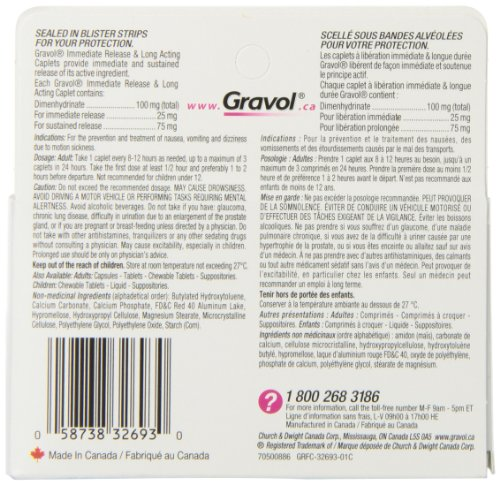 Dual Relief 12 Hour Long Lasting GRAVOL (24 caplets) Antinauseant for NAUSEA, VOMITING, DIZZINESS & MOTION SICKNESS by Gravol (Image #2)