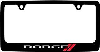 product image for Dodge Logo License Plate Frame (2 Hole/Zinc, Black/Wide)