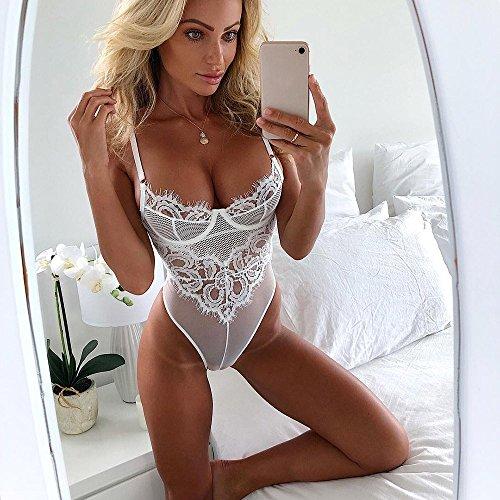 Donna Mussola Pizzo Taglie Bianca Corsetto Filante Intimo Forti Babydoll Bustier Body Sexy Lingerie TZnqzd
