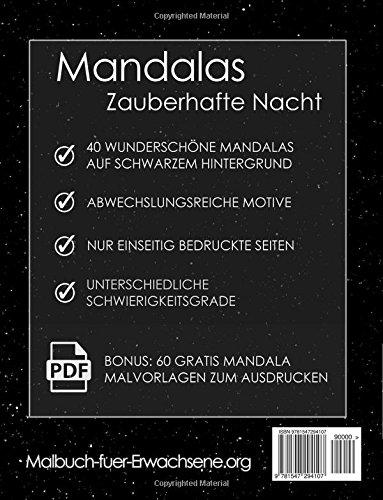 Buy Malbuch Fur Erwachsene Mandalas Auf Schwarzem Hintergrund Zauberhafte Nacht Bonus 60 Kostenlose Malvorlagen Zum Ausmalen Pdf Zum Ausdrucken Book Online At Low Prices In India Malbuch Fur Erwachsene Mandalas