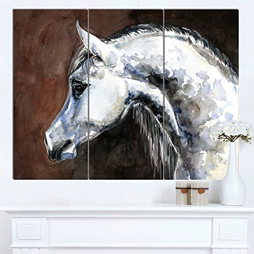 Designart PT13288-3P Gray Arabian Horse Watercolor Animal Wall Art Print,,36x28 by Design Art