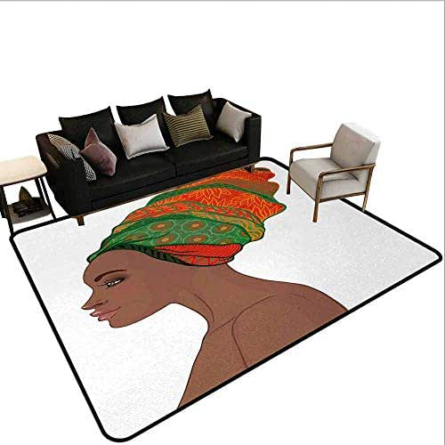 AlEASYHOME Super Cozy Bedroom Rug Carpet, Afro Female Young Beauty Traditional Hair Dress Turban Ornate, 31