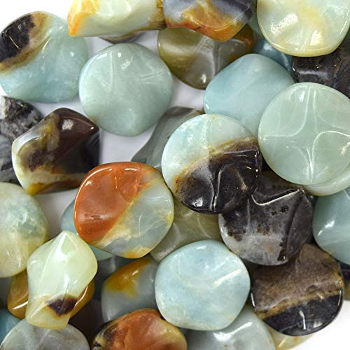 20mm Twist Multicolor Amazonite Coin beads 15.5'' - Beads Coin 20 Mm