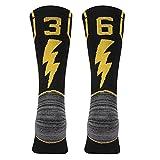 KitNSox Adult Youth Mid Calf Cushion Team Sports Number Socks Basketball Football Baseball Gold/Black