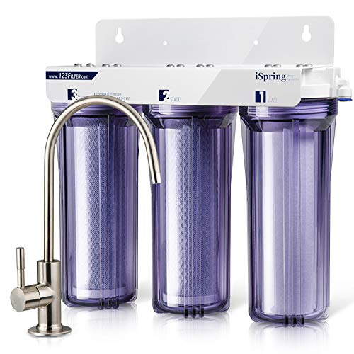 iSpring US31 3-Stage Under Sink High Capacity Tankless Drinking Water Filtration System-Includes Sediment 2X CTO Carbon Block Filters (Newest ()