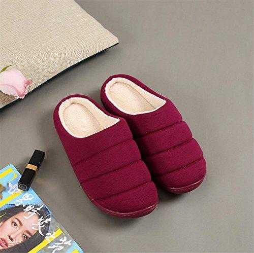 mhgao Ladies Home Skid zapatillas de algodón gruesa en el final de otoño y invierno cálido interior Zapatillas, purple red, Medium purple red